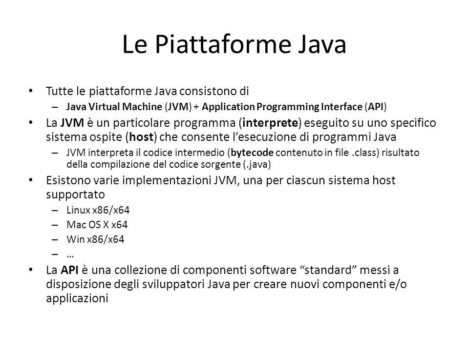 Le Piattaforme Java Tutte le piattaforme Java consistono di