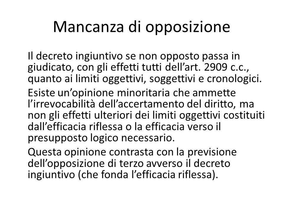 Mancanza di opposizione