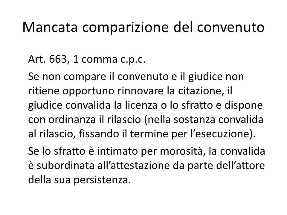 Mancata comparizione del convenuto