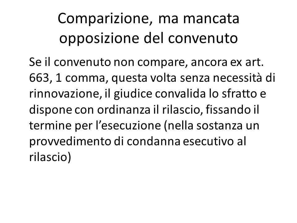 Comparizione, ma mancata opposizione del convenuto