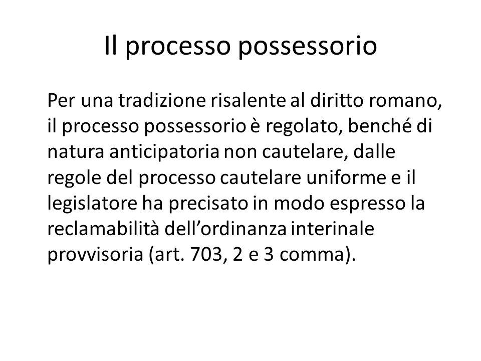 Il processo possessorio