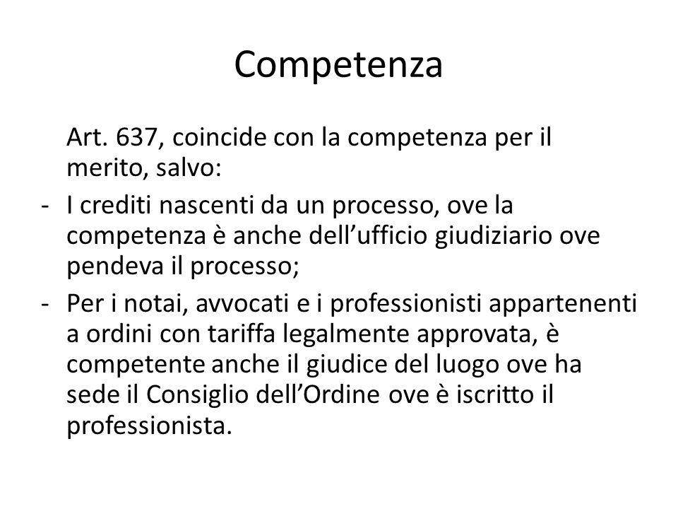 Competenza Art. 637, coincide con la competenza per il merito, salvo: