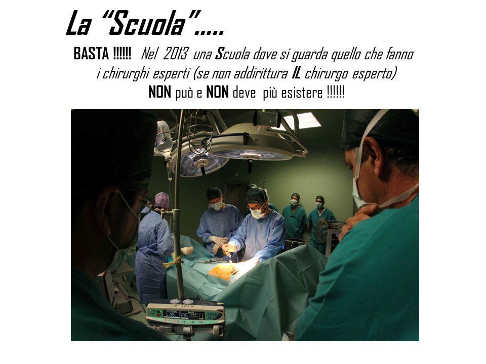 La Scuola ….. BASTA !!!!!! Nel 2013 una Scuola dove si guarda quello che fanno. i chirurghi esperti (se non addirittura IL chirurgo esperto)