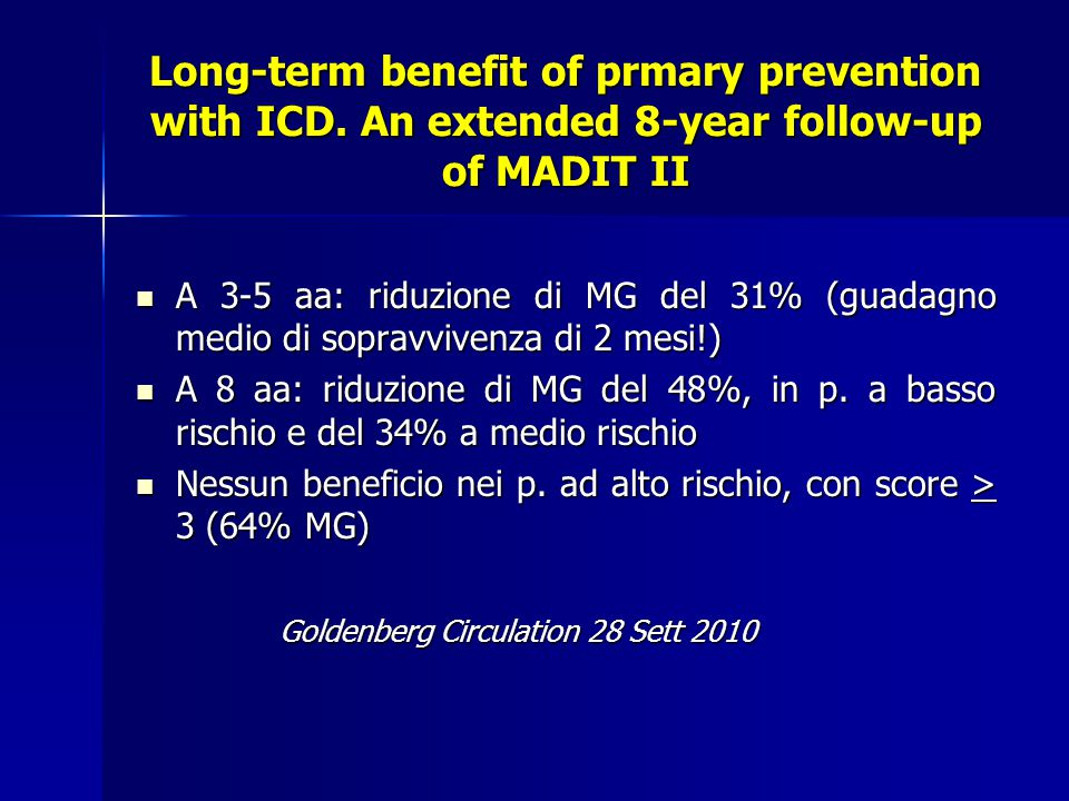 Long-term benefit of prmary prevention with ICD
