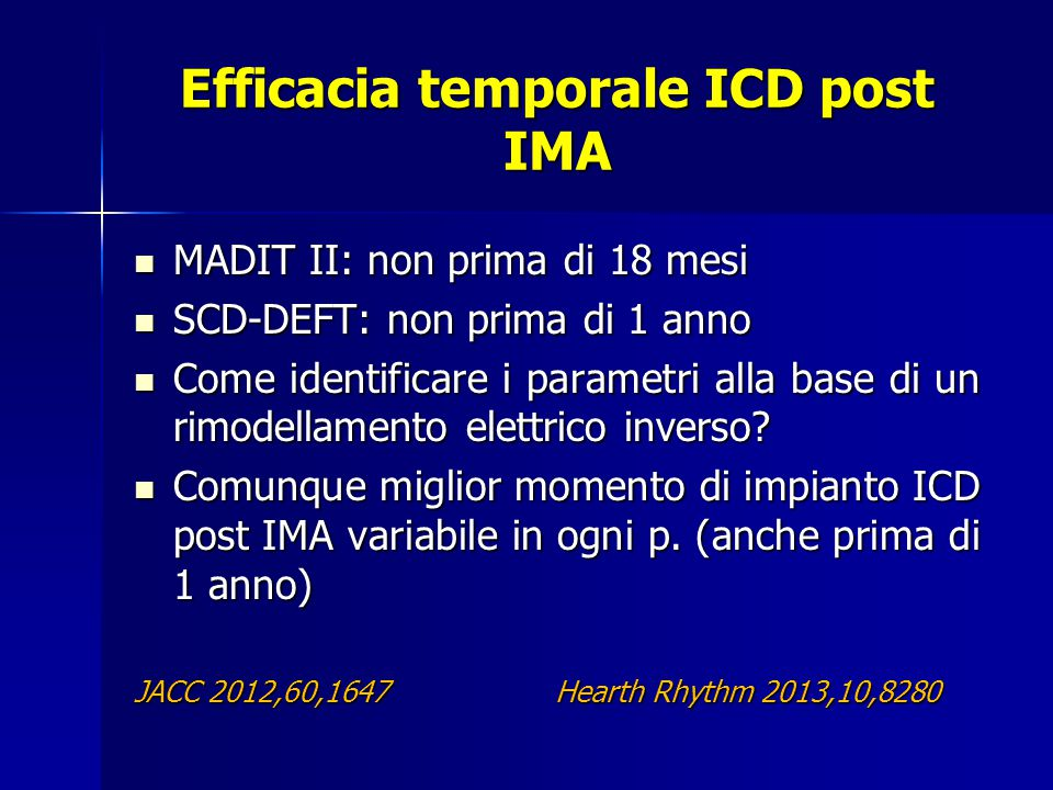 Efficacia temporale ICD post IMA