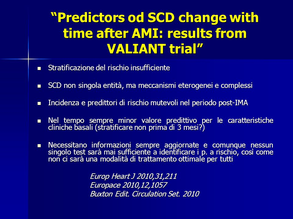 Predictors od SCD change with time after AMI: results from VALIANT trial