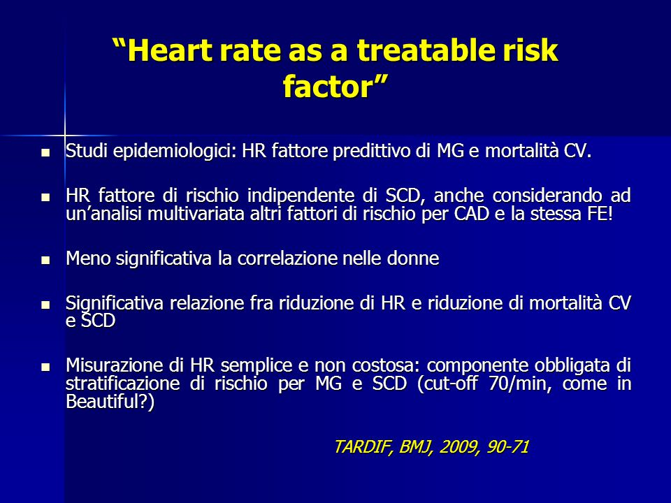 Heart rate as a treatable risk factor