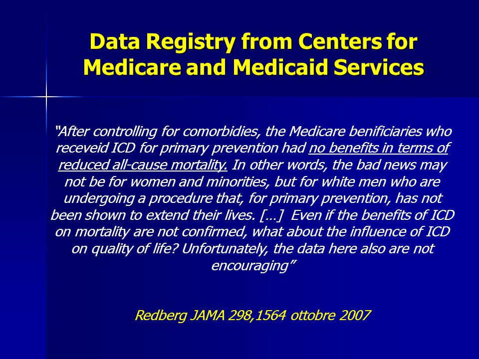 Data Registry from Centers for Medicare and Medicaid Services
