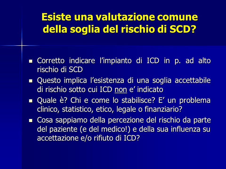 Esiste una valutazione comune della soglia del rischio di SCD