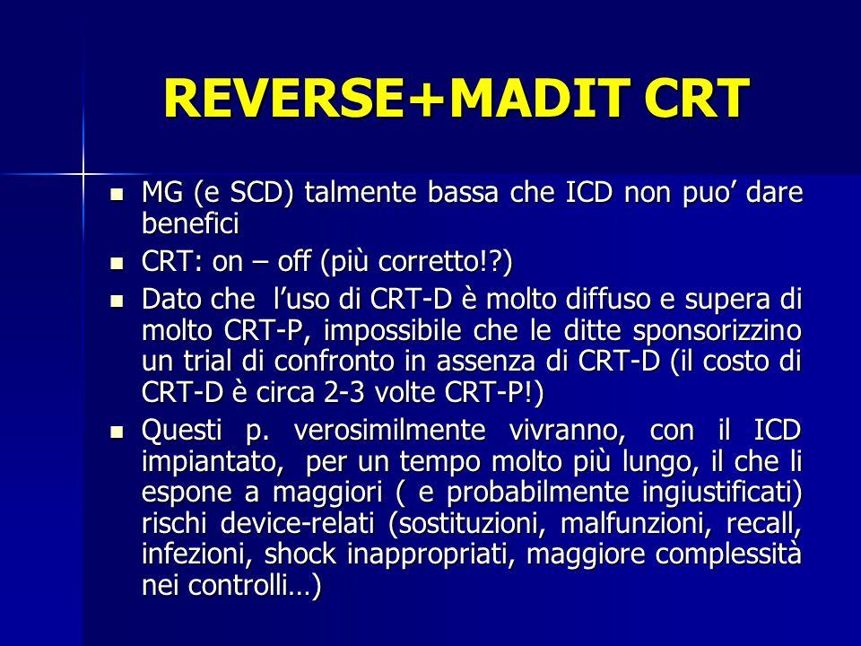 REVERSE+MADIT CRT MG (e SCD) talmente bassa che ICD non puo' dare benefici. CRT: on – off (più corretto! )