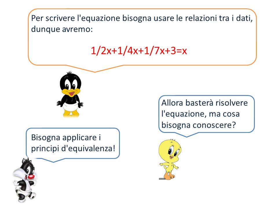 Per scrivere l equazione bisogna usare le relazioni tra i dati, dunque avremo: