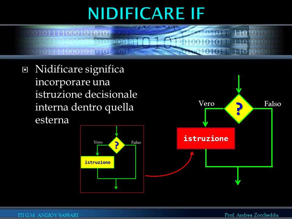 Nidificare if Nidificare significa incorporare una istruzione decisionale interna dentro quella esterna.
