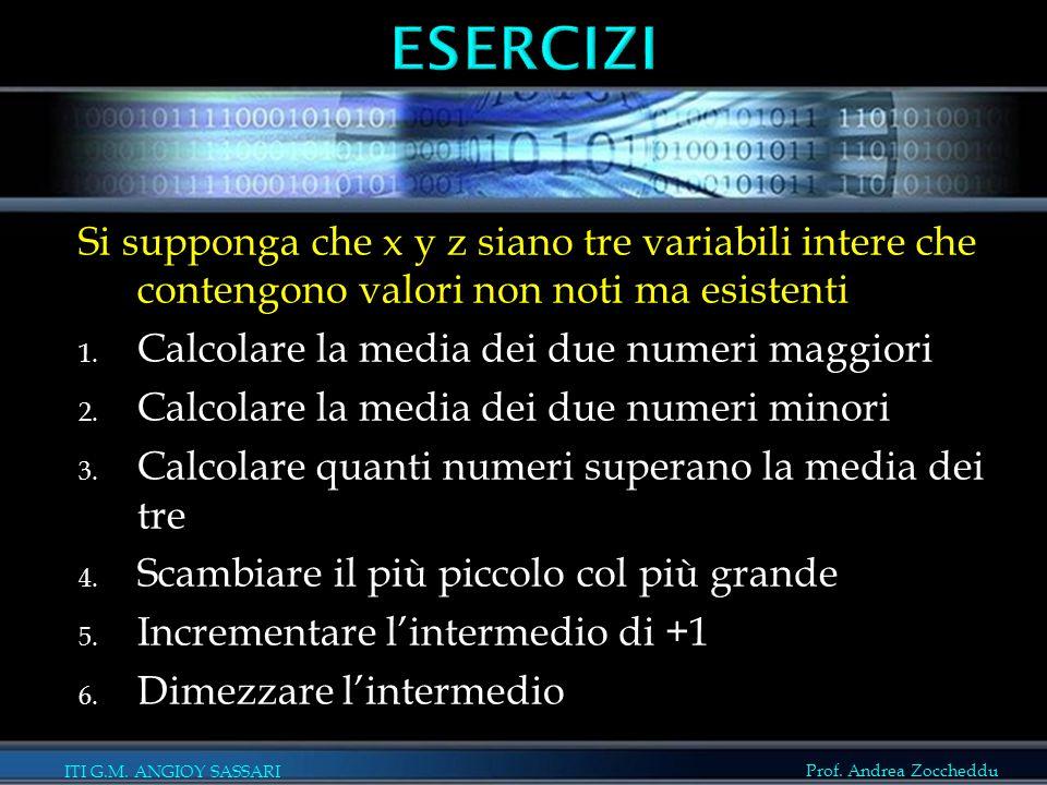 ESERCIZI Si supponga che x y z siano tre variabili intere che contengono valori non noti ma esistenti.
