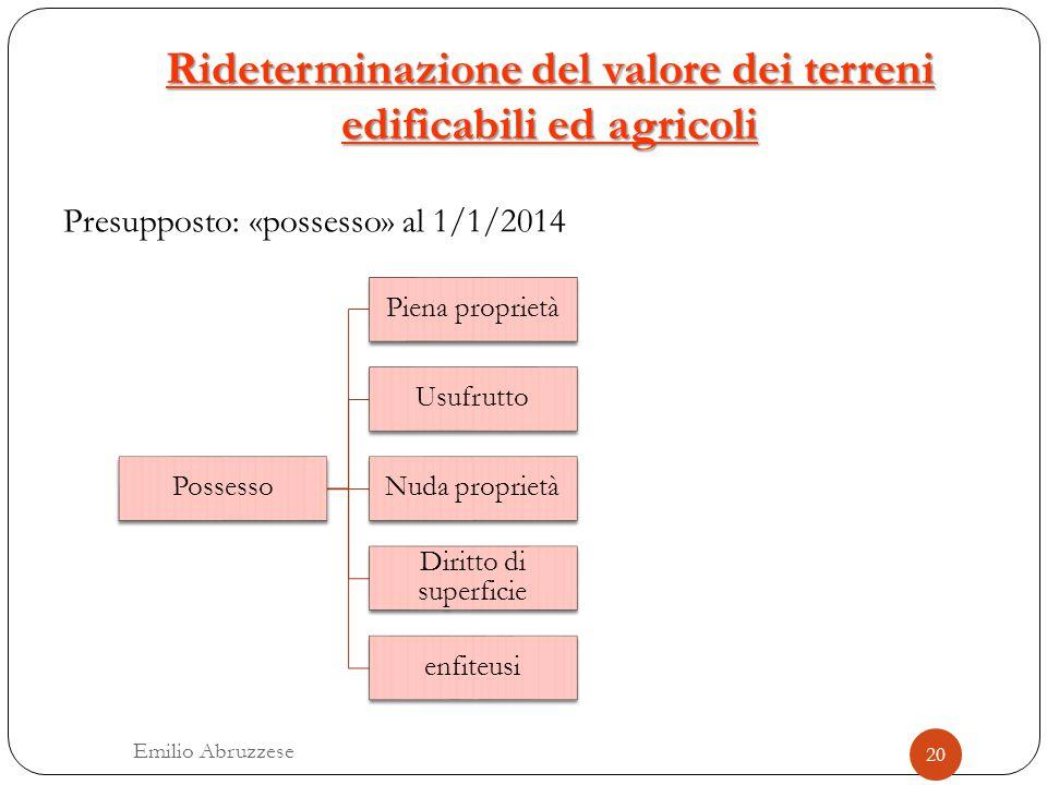 Rideterminazione del valore dei terreni edificabili ed agricoli