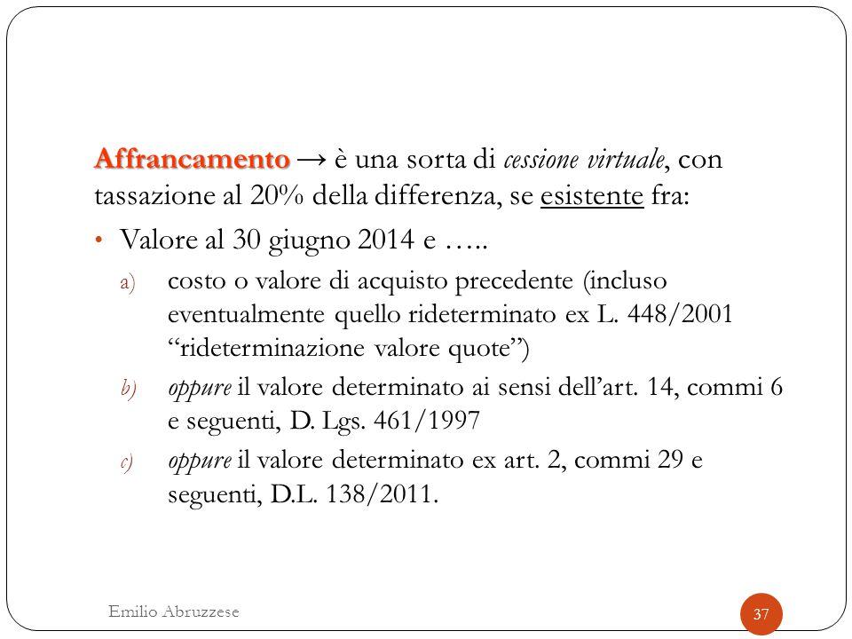 Affrancamento → è una sorta di cessione virtuale, con tassazione al 20% della differenza, se esistente fra: