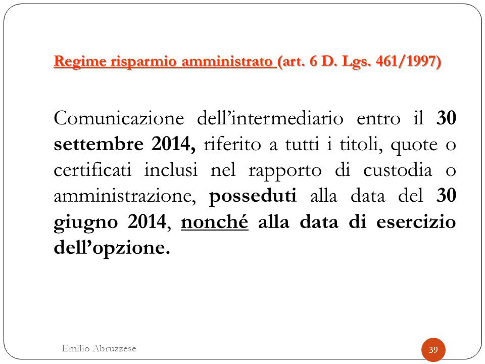 Regime risparmio amministrato (art. 6 D. Lgs. 461/1997)