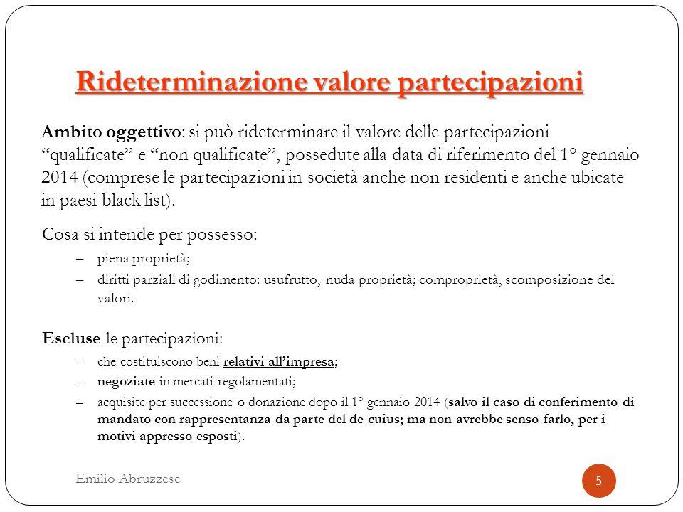 Rideterminazione valore partecipazioni