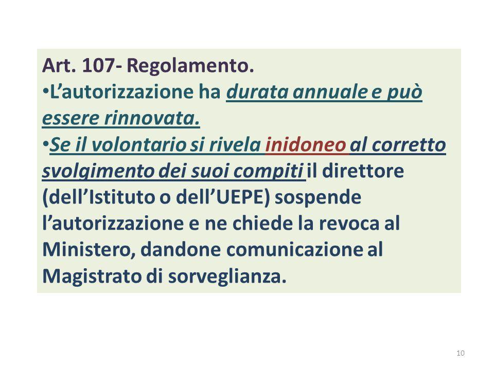 Art. 107- Regolamento. L'autorizzazione ha durata annuale e può essere rinnovata.