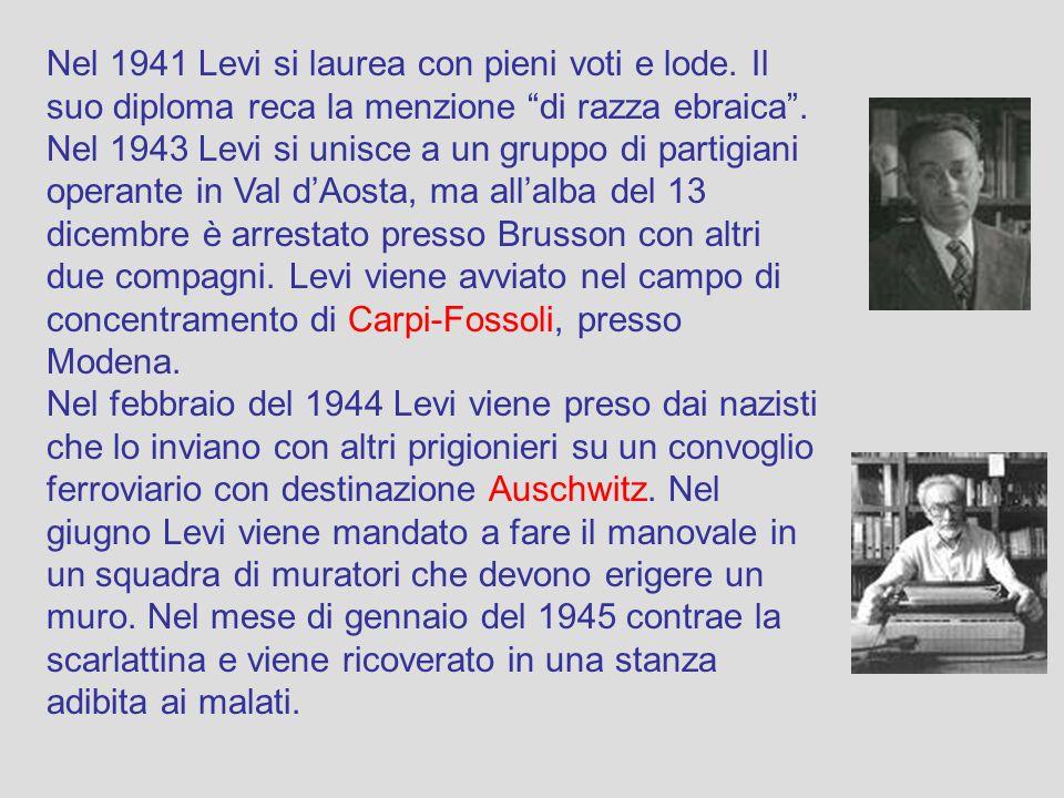 Nel 1941 Levi si laurea con pieni voti e lode