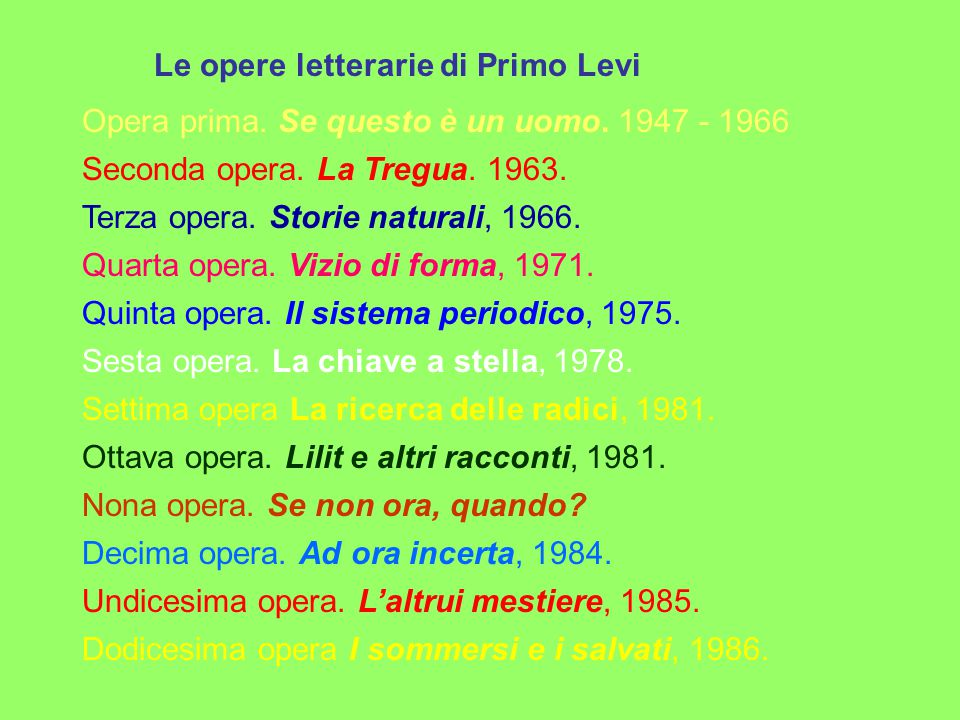 Le opere letterarie di Primo Levi