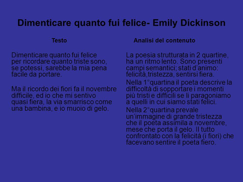 Dimenticare quanto fui felice- Emily Dickinson