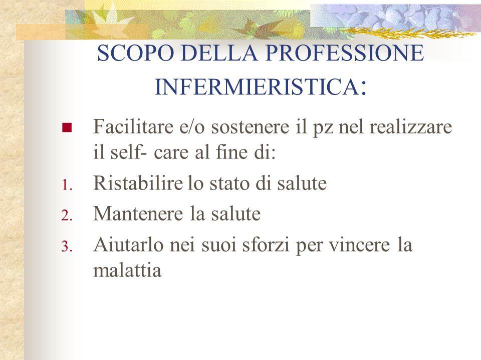 SCOPO DELLA PROFESSIONE INFERMIERISTICA: