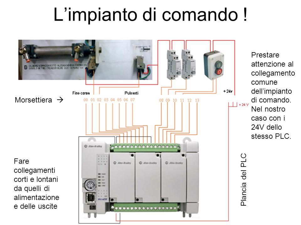 L'impianto di comando ! Prestare attenzione al collegamento comune dell'impianto di comando. Nel nostro caso con i 24V dello stesso PLC.