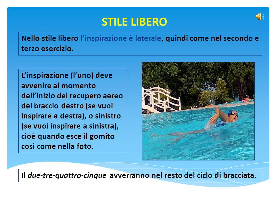 STILE LIBERO Nello stile libero l'inspirazione è laterale, quindi come nel secondo e terzo esercizio.