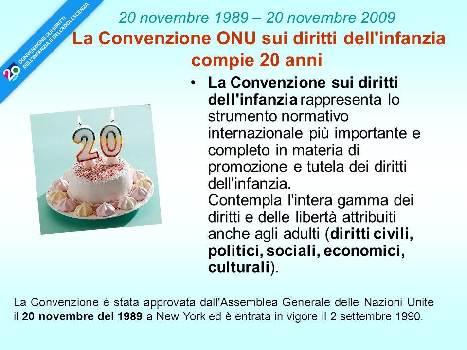 20 novembre 1989 – 20 novembre 2009 La Convenzione ONU sui diritti dell infanzia compie 20 anni