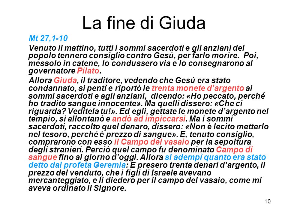 La fine di Giuda Mt 27,1-10.