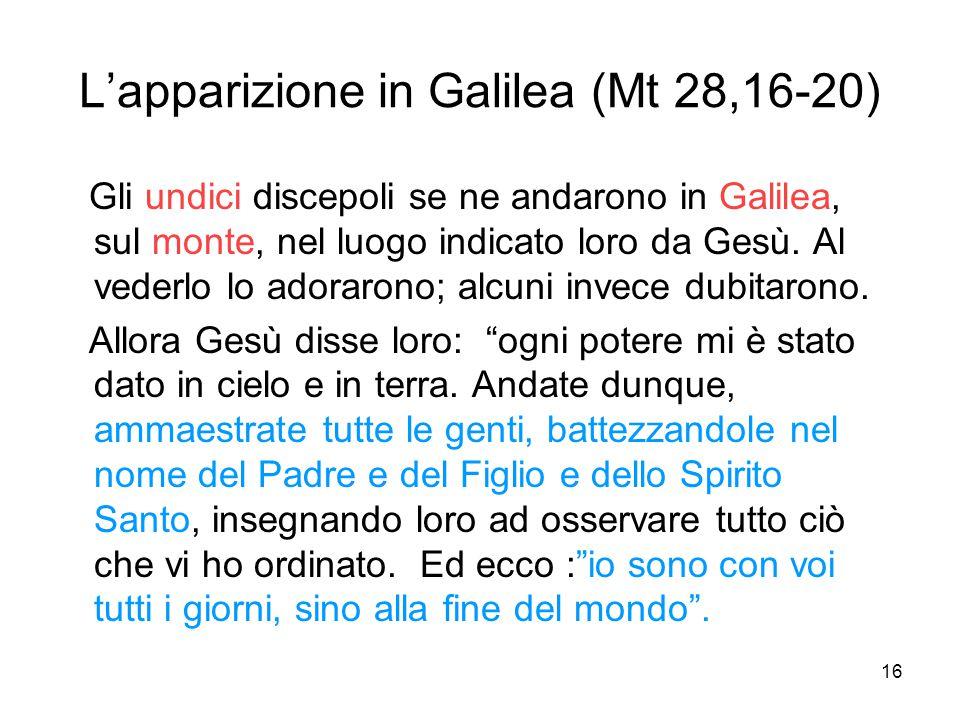 L'apparizione in Galilea (Mt 28,16-20)