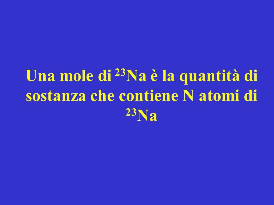 Una mole di 23Na è la quantità di sostanza che contiene N atomi di 23Na