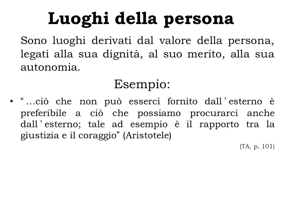 Luoghi della persona Sono luoghi derivati dal valore della persona, legati alla sua dignità, al suo merito, alla sua autonomia.