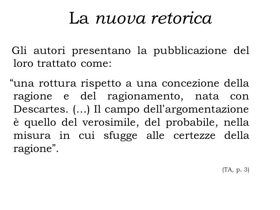 La nuova retorica Gli autori presentano la pubblicazione del loro trattato come: