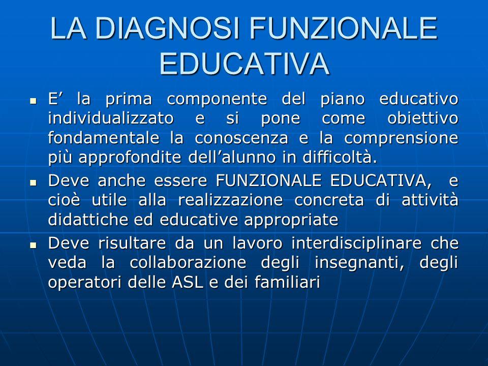 LA DIAGNOSI FUNZIONALE EDUCATIVA