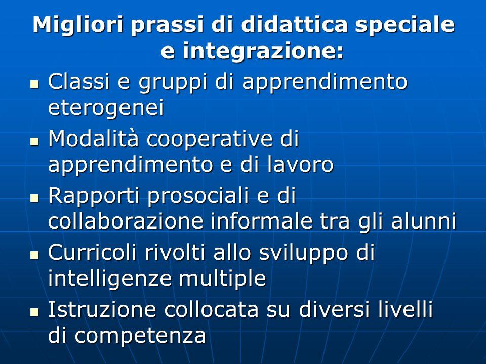 Migliori prassi di didattica speciale e integrazione: