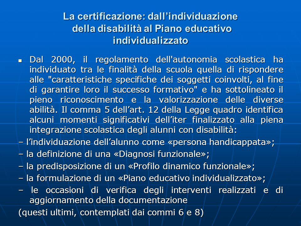 La certificazione: dall'individuazione della disabilità al Piano educativo individualizzato