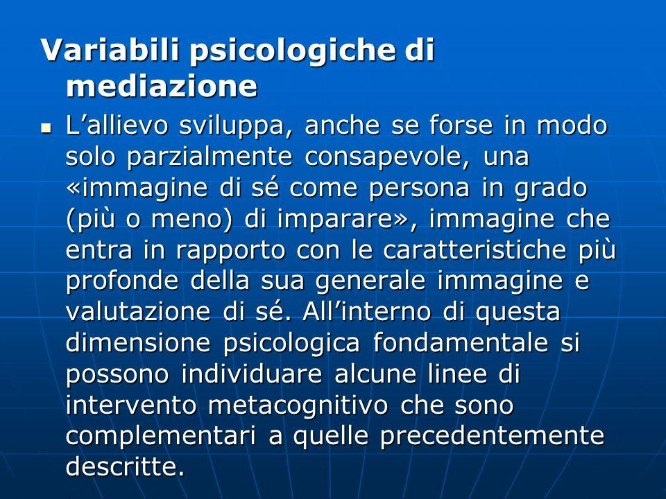 Variabili psicologiche di mediazione