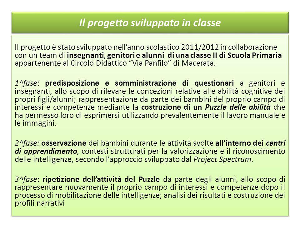 Il progetto sviluppato in classe