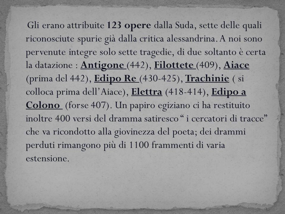 Gli erano attribuite 123 opere dalla Suda, sette delle quali riconosciute spurie già dalla critica alessandrina.