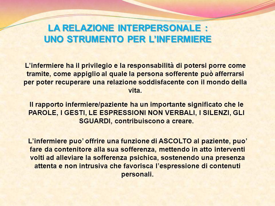 LA RELAZIONE INTERPERSONALE : UNO STRUMENTO PER L'INFERMIERE