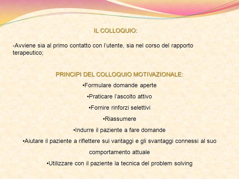 PRINCIPI DEL COLLOQUIO MOTIVAZIONALE: Formulare domande aperte