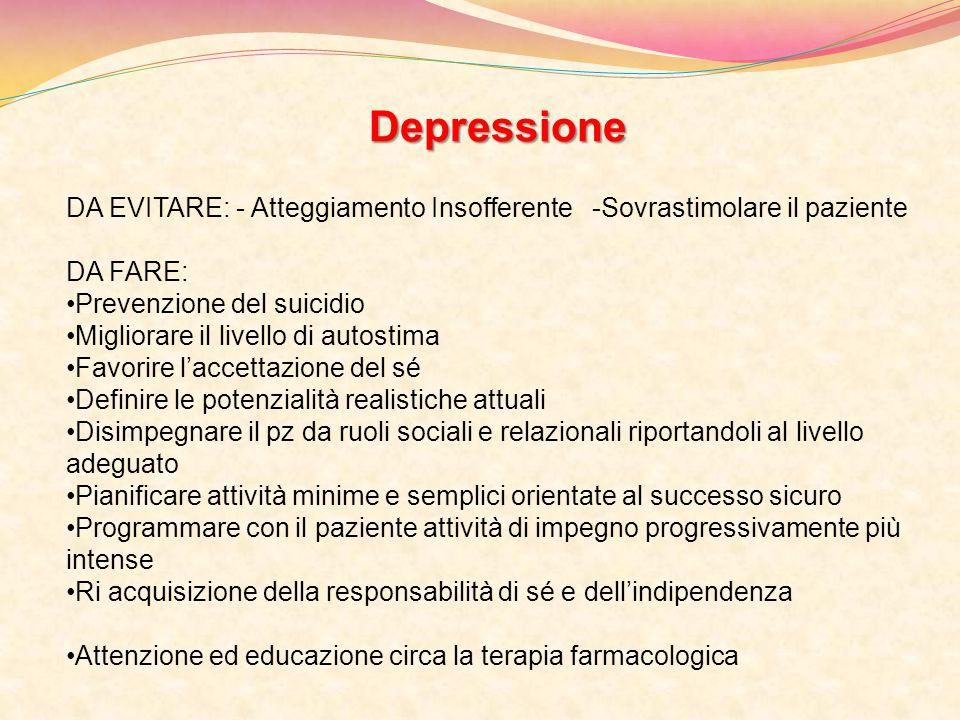 Depressione DA EVITARE: - Atteggiamento Insofferente -Sovrastimolare il paziente. DA FARE: Prevenzione del suicidio.