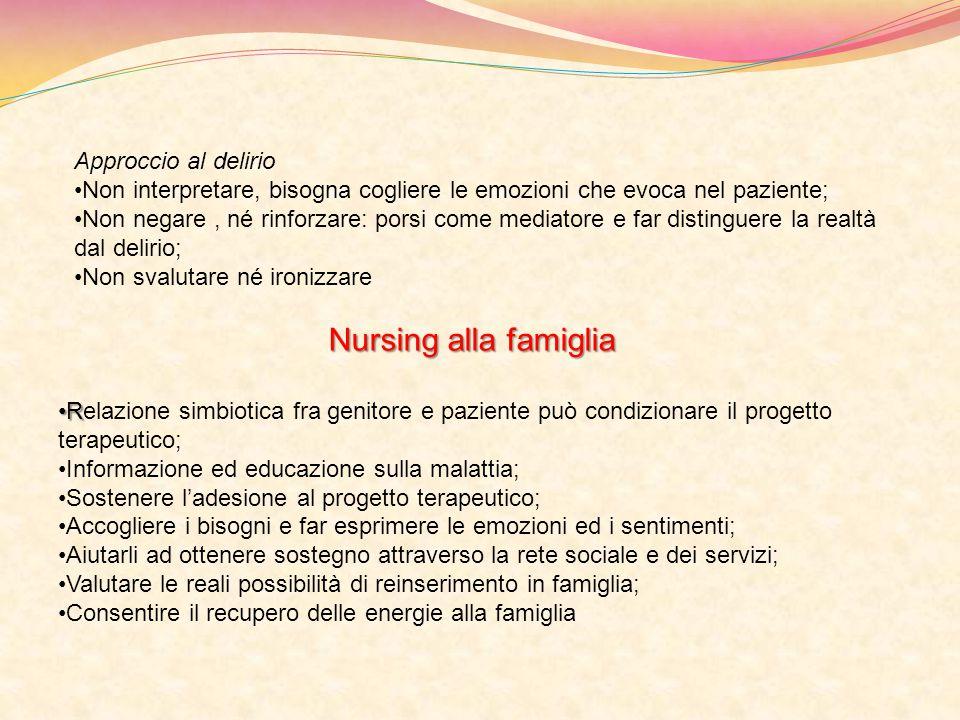 Nursing alla famiglia Approccio al delirio