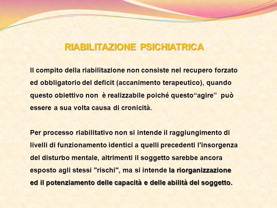 RIABILITAZIONE PSICHIATRICA