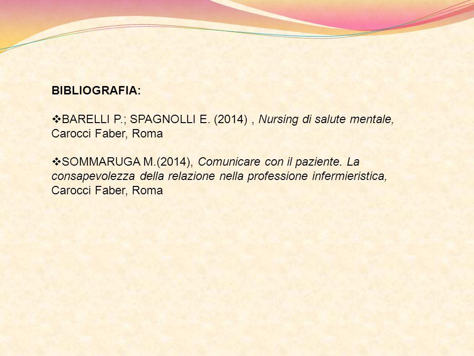 BIBLIOGRAFIA: BARELLI P.; SPAGNOLLI E. (2014) , Nursing di salute mentale, Carocci Faber, Roma.