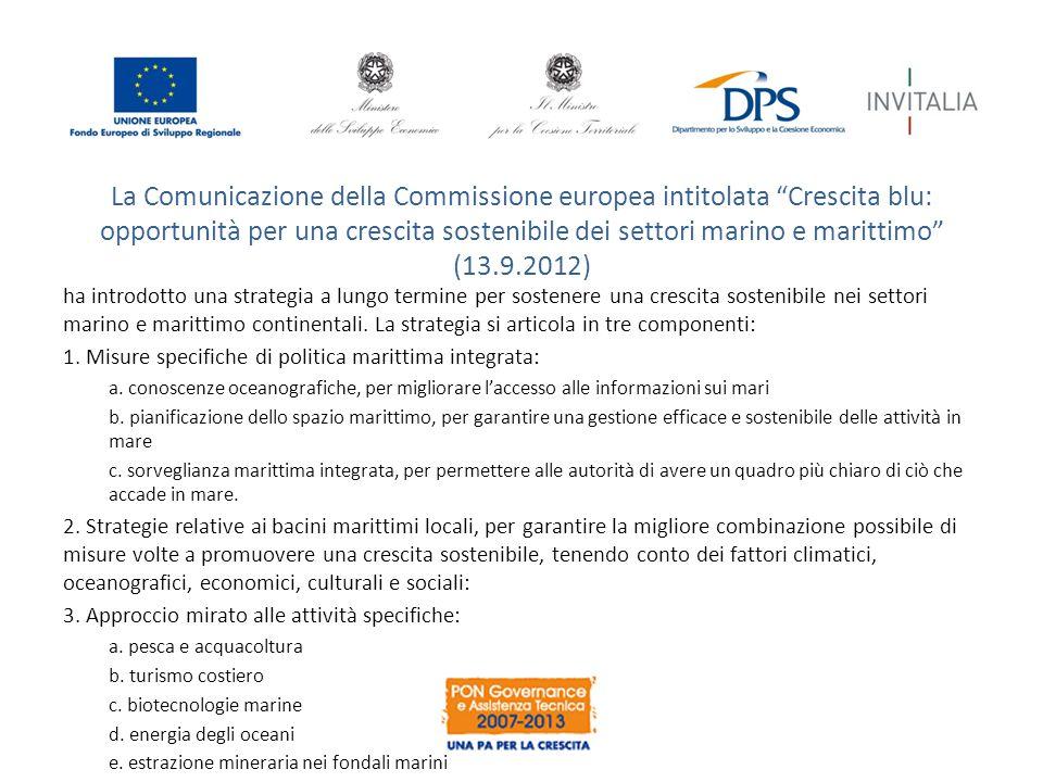 La Comunicazione della Commissione europea intitolata Crescita blu: opportunità per una crescita sostenibile dei settori marino e marittimo (13.9.2012)