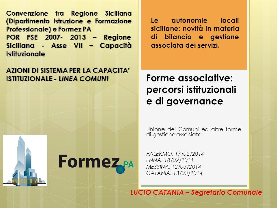 Forme associative: percorsi istituzionali e di governance