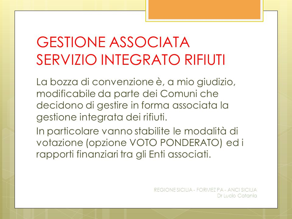 GESTIONE ASSOCIATA SERVIZIO INTEGRATO RIFIUTI