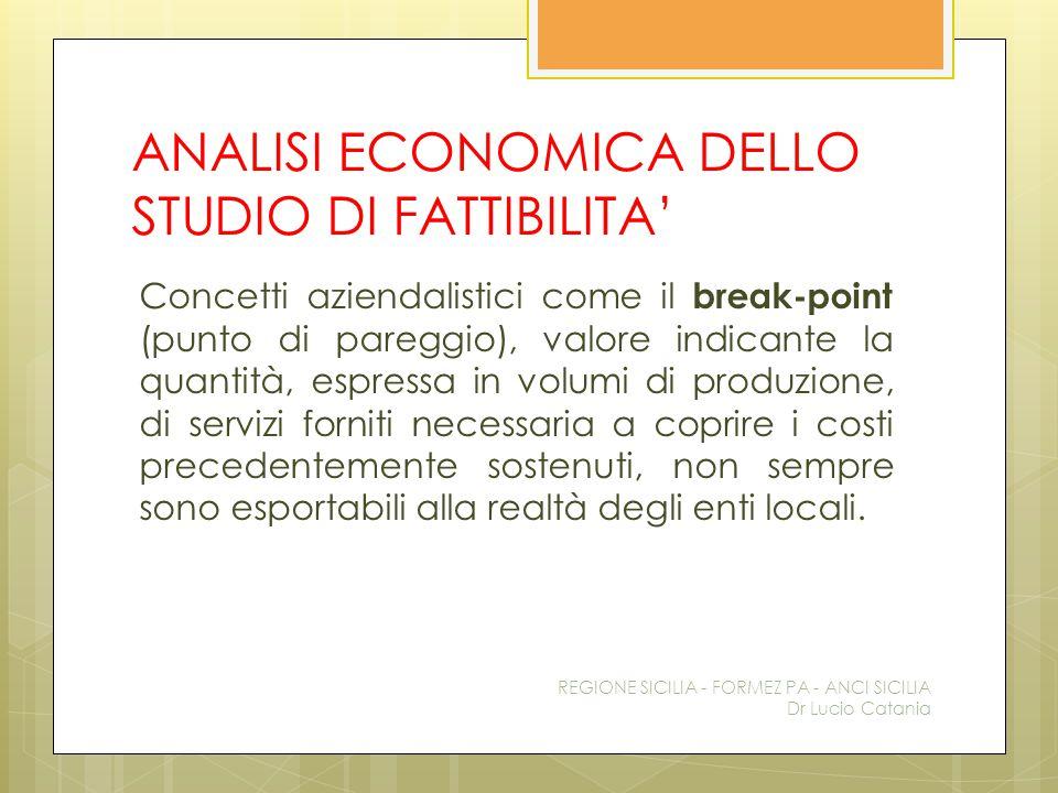 ANALISI ECONOMICA DELLO STUDIO DI FATTIBILITA'